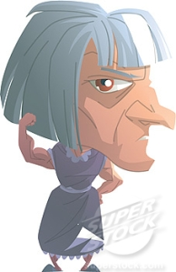 Portrait of a grumpy old woman